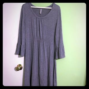 Hanna Andersson Cotton Grey Dress bell sleeves M